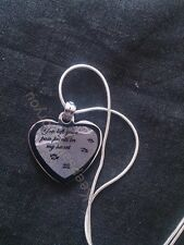 Dog's leave paw prints on your heart memorial personalised engraved necklace