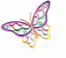 BUTTERFLY-OPEN, PASTEL COLORS (Large)- Iron On Embroidered Applique/Butterflies