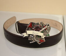 NEW Authentic GUCCI Heart Tattoo Leather BELT 90/36 w/Metal Buckle
