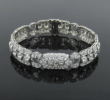 Antique Art Deco Old Mine Cut Diamond & Platinum Filigree Decorated Bracelet
