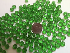 285+ pcs Green Peridot color Loose Crystal Rondelle Glass Bead 6x8mm New