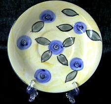 Home Collection Large Saucer Plate Yellow with Blue Flowers J C Penney Coin JCP