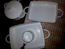 VTG DANSK KOBENSTYLE Set Of Enamel Cookeware. Set of 5 PIECES White  RARE