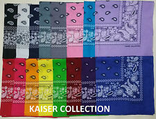 Lot Of 24 Paisley Print Scarf Bandana 100% Cotton 2 Dozen pick any COLORS KAISER