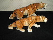 """Stunning PAIR Royal Dux Porcelain TIGERS 15"""" & 12"""" marked Czech MINT condition"""