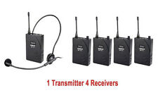 Meeting Wireless Tour Guide/Translation System Transmitter 4 Receivers UHF-938