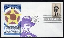 US #1242 Sam Houston FDC Overseas Mailer Cachet Unaddressed a767