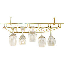 5 Channel Overhead Glass Rack - Brass - Bar & Pub Champagne Wine Stemware Holder