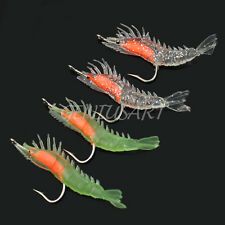 4 Pcs Silicone Simulation Noctilucent Soft Prawn Shrimp Fishing Lure Hook Bait