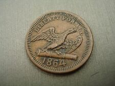 CIVIL WAR TOKEN 1864 EAGLE ON CANNON LIBERTY FOR ALL / AMERICA R-4 SCARCE - #AA1