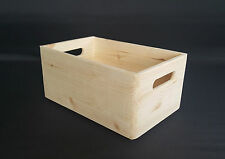 Wooden Box Plain Wood Storage Trunk Small Size Decoupage Craft Handles Chest