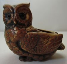 Vintage Lefton Pottery Planter Brown Owl Figure H7436