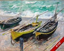 THREE SMALL BEACHED FISHING BOATS CLAUDE MONET PAINTING ART REAL CANVAS PRINT