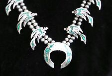 VINTAGE MUSEUM QUALITY STERLING SILVER INLAY NECKLACE EAGLES SQUASH BLOSSOM