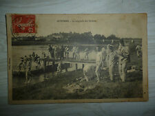 AUXONNE LA BAIGNADE DES SOLDATS 22/7/1914 + TIMBRE, 2 OBLITERATIONS,texte au dos