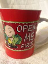 Peanuts Snoopy Charlie Brown Christmas Open Me First Mug by Gibson