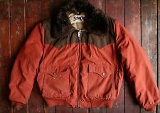 VTG SCHOTT ORANGE FEATHER DOWN PUFFER WESTERN BOMBER SKI JACKET COAT USA LARGE