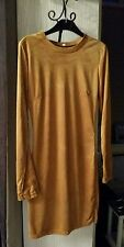TAN FAUX SUEDE SHAMMY LEATHER DRESS FITTED LONG SLEEVE 8 UK