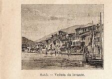 Stampa antica SALO' Salò piccola veduta Lago di Garda 1899 Old Print