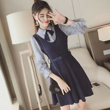 Korean Loose Spring Fashion Women Long Sleeve Lace Bow Knot Striped Waist Dress