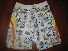 Kirra White Orange Yellow Planes Guitars Swim Shorts Surf Board Size 30 Swimsuit