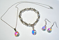'AAA' GRADE RAINBOW AB CRYSTAL GLASS TEARDROP NECKLACE EARRINGS & BRACELET SET