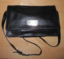 Francesco Biasia Black Leather Cross Body Purse Made In Italy