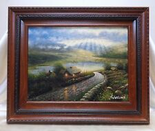Vintage Rays of Sunlight Landscape Oil Painting in Vintage Style Wooden Frame