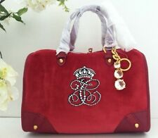 Juicy Couture All Hail Steffy Red Velour Charm Satchel Tote Purse Hand Bag $228