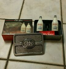 1990 Shulton Old Spice Long Lasting Cologne/After Shave set hammered tin England