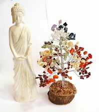 REIKI ENERGY CHARGED SEVEN CHAKRA GEMSTONE CRYSTAL TREE WITH LARGE THAI BUDDHA