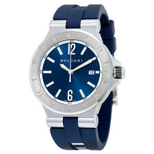 Bvlgari Diagono Blue Dial Blue Stainless Steel and Rubber Strap Mens Watch