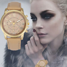 Damen Mode Armbanduhr Geneva Roman Numerals Faux Lederuhr Analoguhr Quartz Watch