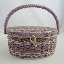 Vintage Sewing Basket Woven Wood Wooden Craft Box Case Purple