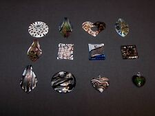 Gorgeous Wholesale Lot of 12 Large Art Glass Pendants for Jewelry Making
