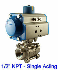 "1/2"" Inch Single Acting Spring Return Air Actuated Ball Valve Normally Closed"