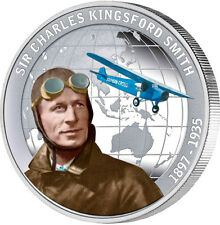 2010 Tuvalu $1 Charles Kingsford Smith 1oz .999 Silver Proof Coin