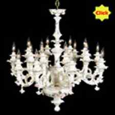 Capodimonte Made in Italy Chandelier 16 Light White & Gold Finish (New)