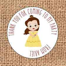 Princess themed Party bag stickers 24 belle sweet cone labels thank you