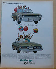 Vintage 1963 magazine ad for Dodge - convertible and beach ball tossing beauties