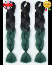 "24"" Black & Green Ombre Two Tone Dip Dye Kanekalon Jumbo Braids Hair Extensions"