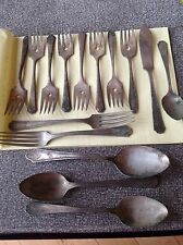 antique vintage silverware silver plate lot 15 Pieces Spoons Forks Craft Jewelry