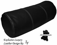 "EXCLUSIVE LUXURY GENUINE BLACK LEATHER ROUND CUSHION BOLSTER ROLL 9"" x 24"""