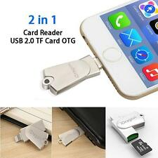 2in1 USB 2.0 Micro SD SDHC TF OTG Card Reader Writer For iPhone 6s 7 Plus,ipad.