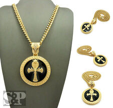 """Egyptian Breath of Life Ankh Round Pendant 6mm 24"""" Cuban Chain Hip Hop Necklace"""