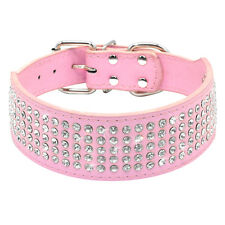 2 inch 5 Rows Rhinestone PU Leather Pet Dog Collars For Medium Large Dogs XS-XL