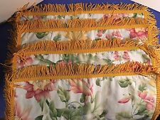 "SET OF 4 Antique Fringe Floral Design Fabric Cloth Table Placemats 19""x12"""