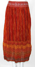 NWT Cindy Ambuehl Size Small Printed Long Broomstick Skirt DARK CORAL