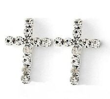 Pair Men Women Girl 925 Silver Cross w/ Micro CZ Gem Pierced Ear Stud Earrings