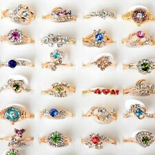 Wholesale Jewelry Lots 20pcs Crystal Rhinestone Gold Plated Rings Wedding Ring